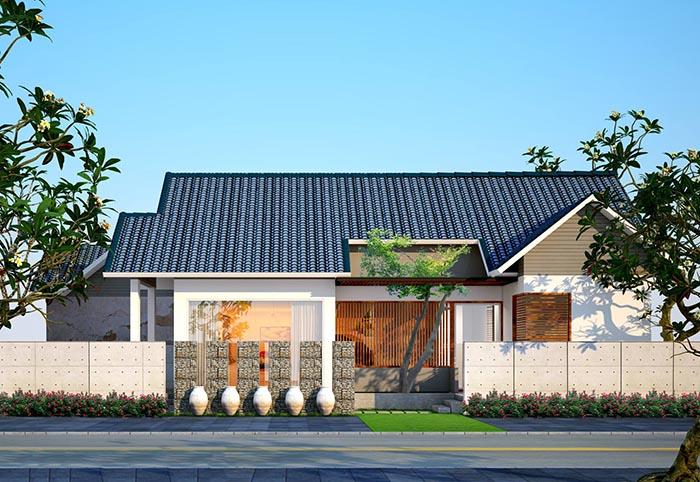 Nhà mái ngói được thiết kế rất hiện đại và sang trọng