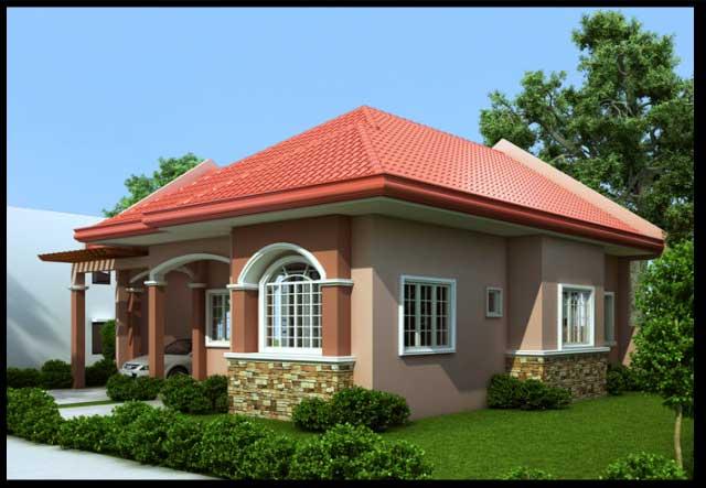 Mái ngói đỏ làm cho kiến trúc ngôi nhà nổi bật