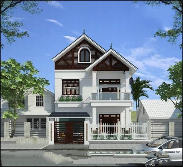 Mẫu nhà 2 tầng với thiết kế mái thái giật cấp