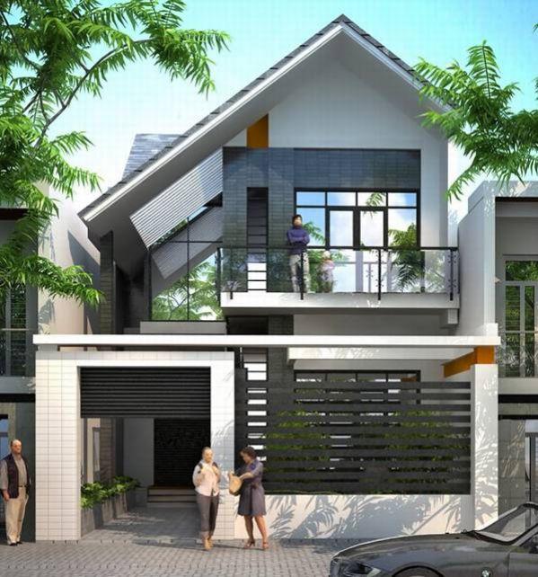 Nhà 2 tầng đẹp với kiểu mái thái lệch